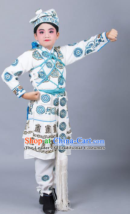 Traditional China Beijing Opera Takefu Costume, Ancient Chinese Peking Opera Wu-Sheng Warrior Embroidery White Clothing