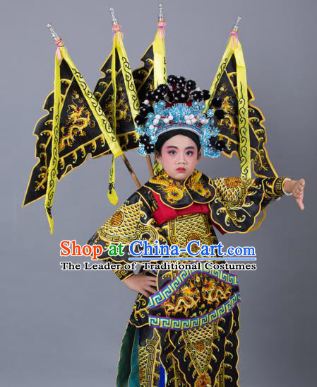 Traditional China Beijing Opera Takefu General Costume and Headwear Complete Set, Ancient Chinese Peking Opera Wu-Sheng Military Officer Embroidery Black Clothing for Kids