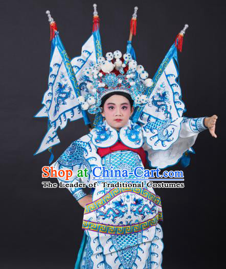 Traditional China Beijing Opera Takefu General Costume and Headwear Complete Set, Ancient Chinese Peking Opera Wu-Sheng Military Officer Embroidery White Clothing for Kids