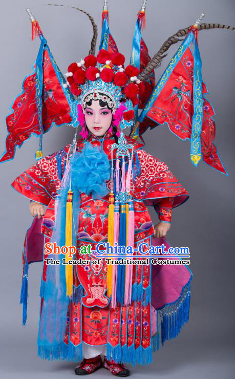 Traditional China Beijing Opera Female General Costume and Headwear Complete Set, Ancient Chinese Peking Opera Swordplay Military Officer Embroidery Red Clothing for Kids