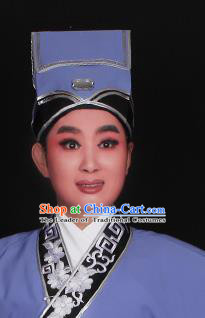 Top Grade Professional Beijing Opera Niche Costume Scholar Blue Hat Headwear, Traditional Ancient Chinese Peking Opera Young Men Headpiece