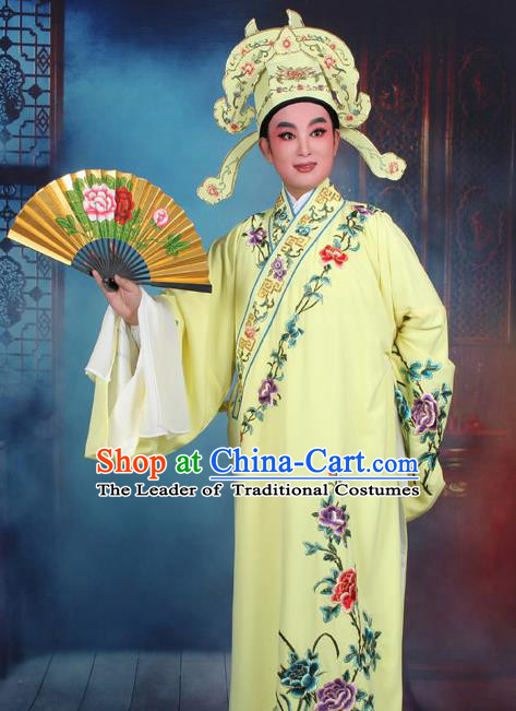 Top Grade Professional Beijing Opera Niche Costume Gifted Scholar Yellow Embroidered Robe, Traditional Ancient Chinese Peking Opera Embroidery Clothing