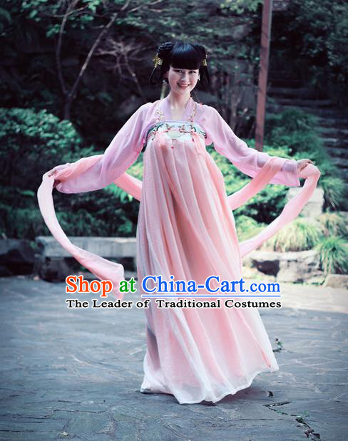 Traditional Ancient Chinese Young Lady Dance Costume, Elegant Hanfu Chinese Tang Dynasty Palace Princess Embroidered Clothing for Women