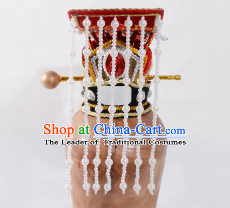 Top Grade Professional Beijing Opera Niche Costume Han Dynasty Emperor Headwear, Traditional Ancient Chinese Peking Opera King Hat