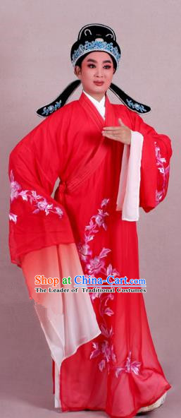 Top Grade Professional Beijing Opera Niche Costume Scholar Red Double-deck Embroidered Robe and Hat, Traditional Ancient Chinese Peking Opera Young Men Embroidery Clothing