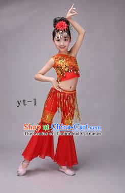 Traditional Chinese Dai Nationality Peacock Dance Costume, Children Folk Dance Ethnic Costume, Chinese Minority Nationality Dance Red Dress for Kids