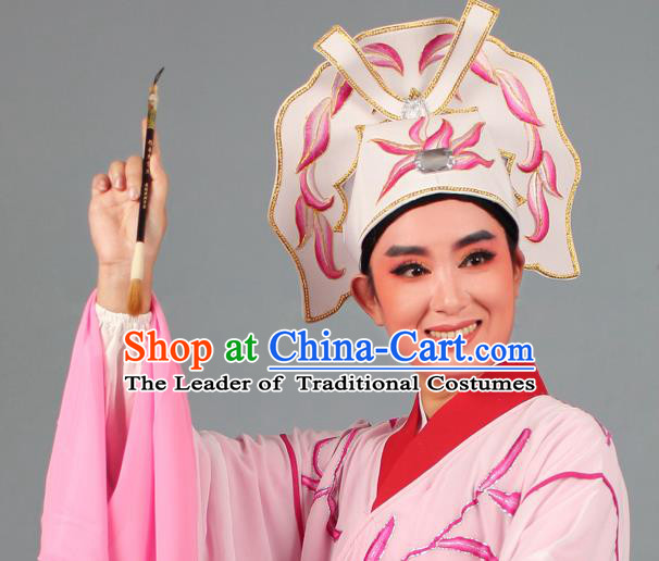 Top Grade Beijing Opera Niche Gifted Scholar Embroidered Pink Hat, Traditional Ancient Chinese Peking Opera Young Men Headwear