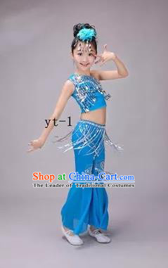 Traditional Chinese Dai Nationality Peacock Dance Costume, Children Folk Dance Ethnic Costume, Chinese Minority Nationality Dance Blue Dress for Kids