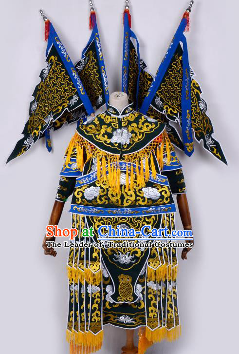 Traditional China Beijing Opera Female General Costume and Headwear Complete Set, Ancient Chinese Peking Opera Swordplay Military Officer Embroidery Blue Clothing