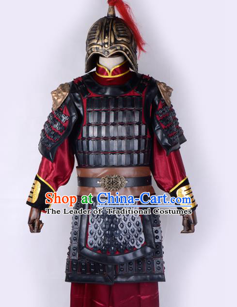 Traditional China Beijing Opera Takefu General Corselet Costume and Headwear Complete Set, Ancient Chinese Peking Opera Wu-Sheng Military Officer Armour Clothing