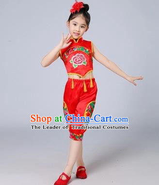 Traditional Chinese Classical Dance Yangge Fan Dancing Costume, Folk Dance Drum Dance Uniform Yangko Red Costume for Kids