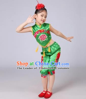 Traditional Chinese Classical Dance Yangge Fan Dancing Costume, Folk Dance Drum Dance Uniform Yangko Green Costume for Kids