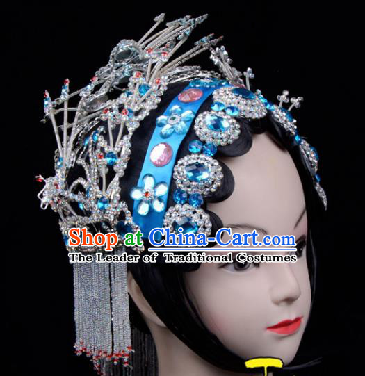 Traditional China Beijing Opera Palace Princess Hair Accessories Blue Crystal Head-ornaments Complete Set, Ancient Chinese Peking Opera Tassel Step Shake Women Hairpins Diva Kanzashi Headwear