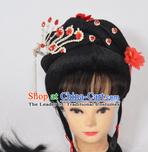 Traditional Handmade Chinese Classical Peking Opera Young Lady Wigs and Hair Accessories, China Beijing Opera Princess Hair Headgear