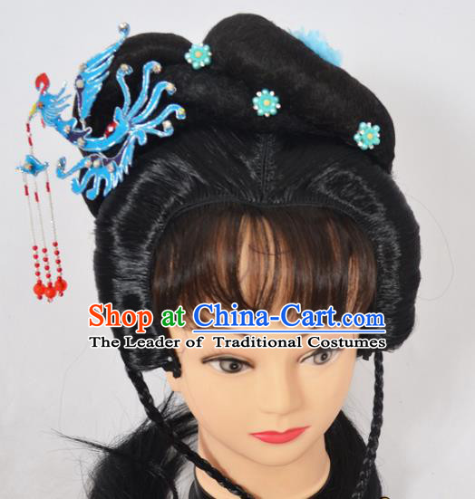 Traditional Handmade Chinese Classical Peking Opera Young Lady Wigs and Blue Phoenix Tassel Hairpin Hair Accessories, China Beijing Opera Princess Hairpieces Headgear