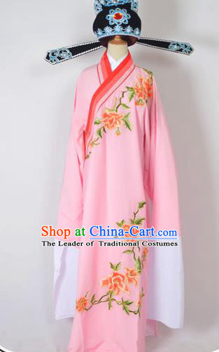 Traditional Chinese Professional Peking Opera Young Men Costume and Hat Complete Set, China Beijing Opera Shaoxing Opera Niche Lang Scholar Embroidery Peony Pink Long Robe Clothing