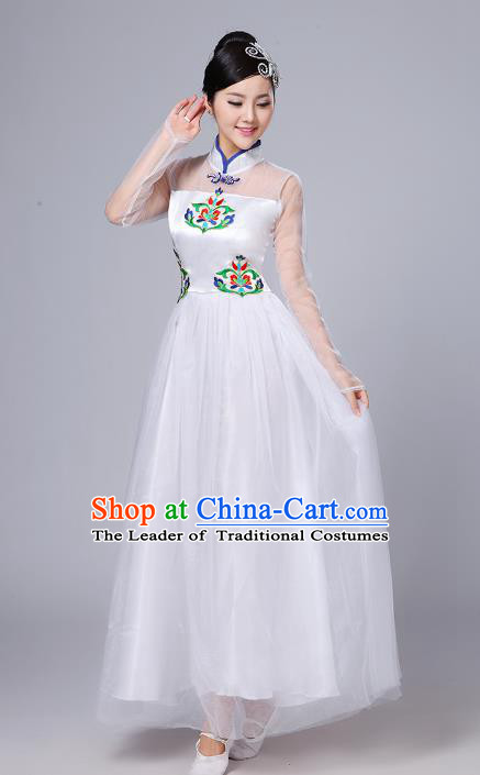 Top Grade Chinese Compere Professional Performance Catwalks Costume, China Stand Collar Modern Dance White Dress for Women