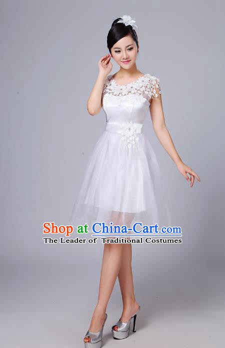 Top Grade Chinese Compere Professional Performance Catwalks Costume, China Modern Dance White Short Dress for Women