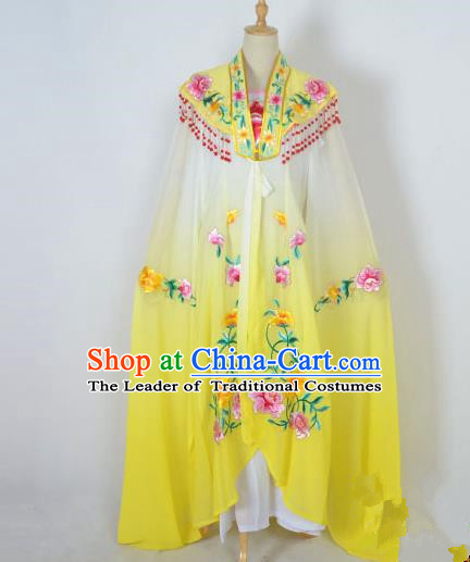 Traditional Chinese Professional Peking Opera Shaoxing Opera Costume Embroidery Yellow Cloud Shoulder Mantel, China Beijing Opera Female Diva Clothing Long Water Sleeve Shawl Dress