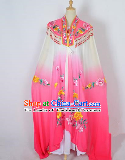 Traditional Chinese Professional Peking Opera Shaoxing Opera Costume Embroidery Pink Cloud Shoulder Mantel, China Beijing Opera Female Diva Clothing Long Water Sleeve Shawl Dress