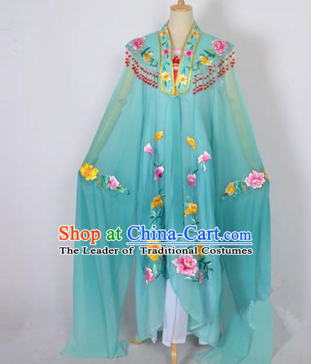 Traditional Chinese Professional Peking Opera Shaoxing Opera Costume Embroidery Green Cloud Shoulder Mantel, China Beijing Opera Female Diva Clothing Long Water Sleeve Shawl Dress