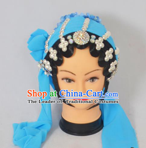 Traditional Handmade Chinese Classical Peking Opera Young Lady Hair Accessories and Wigs, China Beijing Opera Maidservants Diva Green Flower Headwear