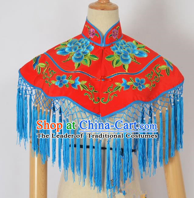 Traditional Handmade Chinese Classical Peking Opera Young Lady Embroidery Peony Cloud Shoulder, China Beijing Opera Maidservants Diva Red Shawl