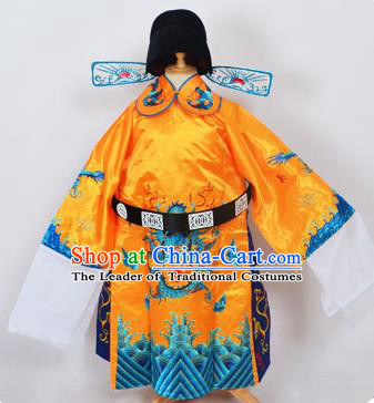 Traditional Chinese Professional Peking Opera Old Men Costume Yellow Embroidered Robe and Hat, China Beijing Opera Prime Minister Embroidery Robe Gwanbok Clothing