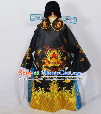 Traditional Chinese Professional Peking Opera Old Men Costume Black Embroidered Robe and Hat, China Beijing Opera Prime Minister Embroidery Robe Gwanbok Clothing