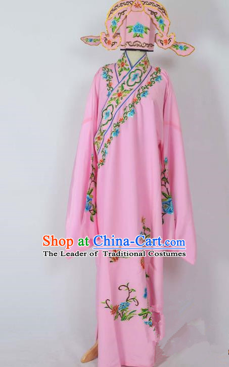 Traditional Chinese Professional Peking Opera Young Men Costume, China Beijing Opera Niche Gifted Scholar Embroidery Pink Robe Clothing