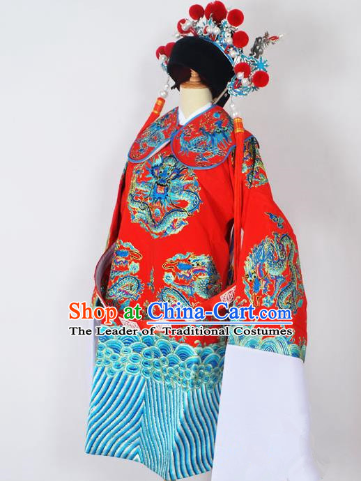 Traditional Chinese Professional Peking Opera Emperor Female Son-in-law Costume Red Embroidered Robe and Hat, China Beijing Opera Prime Minister Embroidery Robe Gwanbok Clothing