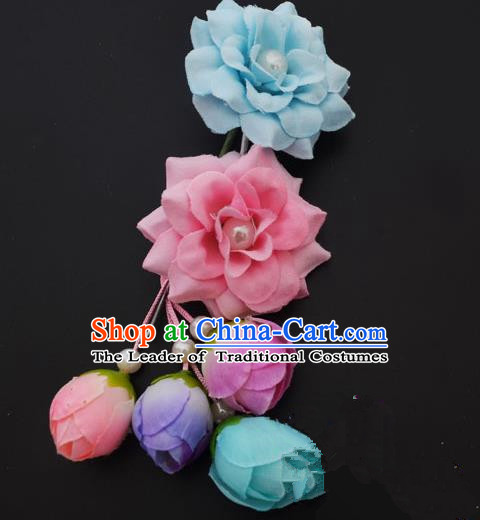 Traditional Handmade Chinese Classical Peking Opera Young Lady Hua Tan Hair Accessories Blue and Pink Temples Flowers, China Beijing Opera Diva Princess Headwear Tassel Hairpins