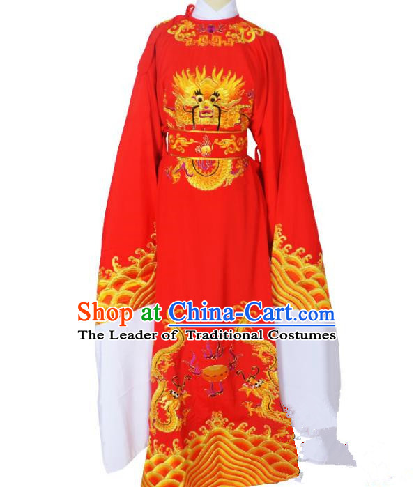 Traditional Chinese Professional Peking Opera Lang Scholar Costume Red Embroidery Robe, China Beijing Opera Niche Embroidered Robe Clothing