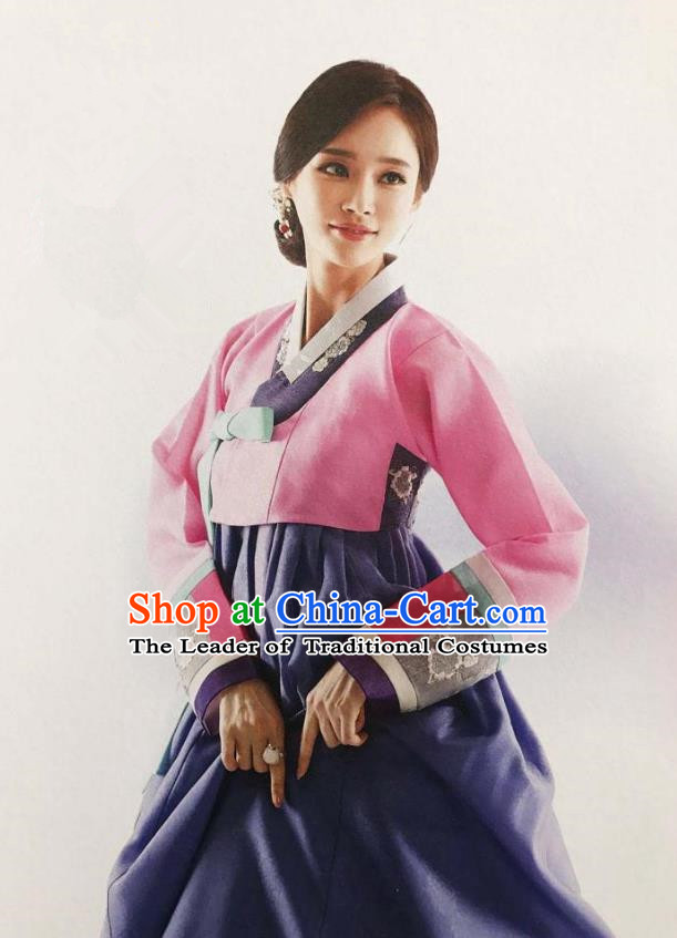 Traditional Korean Handmade Embroidery Mother Hanbok, Top Grade Korea Hanbok Wedding Pink Costume for Women