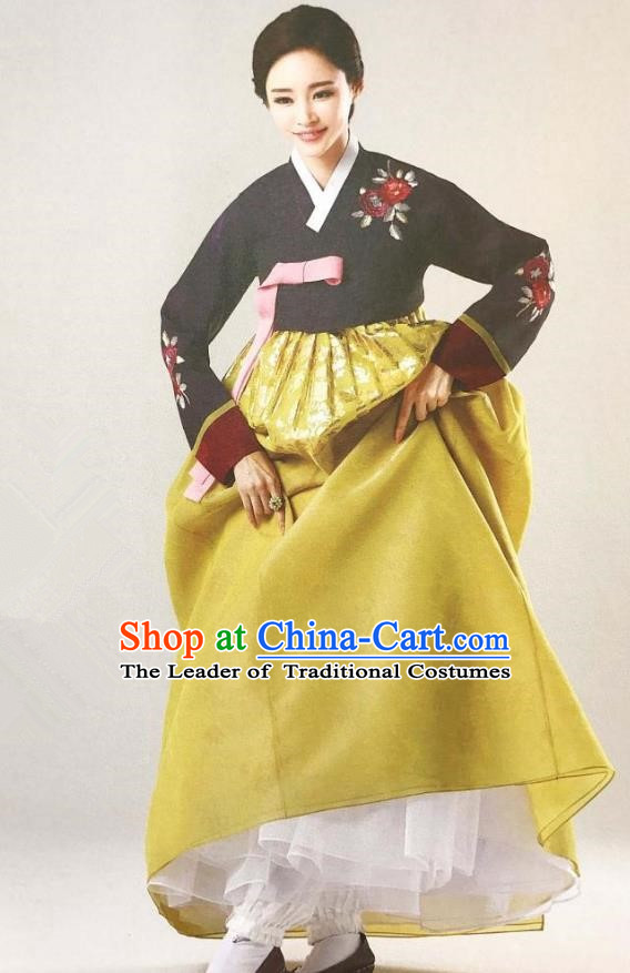 Traditional Korean Handmade Embroidery Mother Hanbok, Top Grade Korea Hanbok Wedding Black Costume for Women