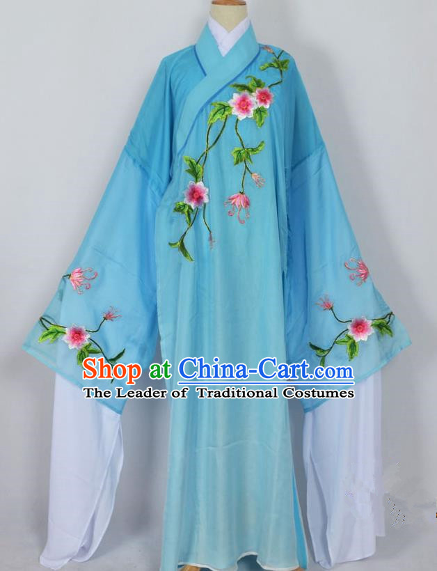 Traditional Chinese Professional Peking Opera Young Men Niche Water Sleeve Costume Blue Embroidery Robe, China Beijing Opera Nobility Childe Scholar Embroidered Clothing