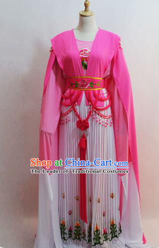 Traditional Chinese Professional Peking Opera Young Lady Princess Costume Water Sleeve Pink Embroidery Dress, China Beijing Opera Diva Hua Tan Embroidered Clothing