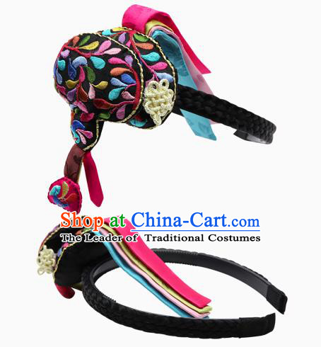 Traditional South Korean Handmade Embroidery Hair Accessories Headband, Top Grade Korea Children Hair Clasp Headwear for Kids