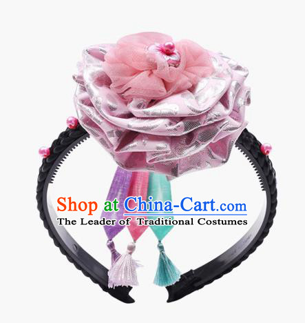 Traditional South Korean Handmade Hair Accessories Pink Silk Headband, Top Grade Korea Children Hair Clasp Headwear for Kids