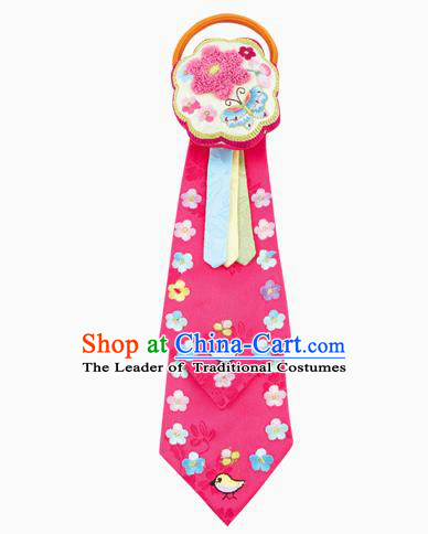 Traditional South Korean Handmade Hair Accessories Pink Embroidery Headband, Top Grade Korea Children Hair Clasp Headwear for Kids