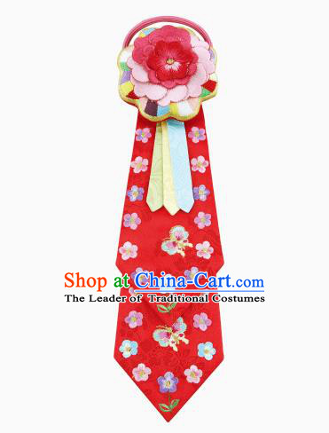 Traditional South Korean Handmade Hair Accessories Red Embroidery Flowers Headband, Top Grade Korea Children Hair Clasp Headwear for Kids