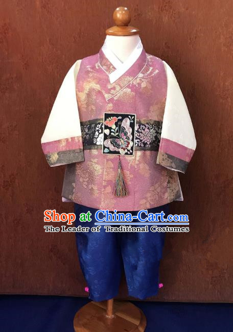 Traditional South Korean Handmade Hanbok Children Baby Birthday Customization Clothing, Top Grade Korea Hanbok Costume Complete Set for Boys