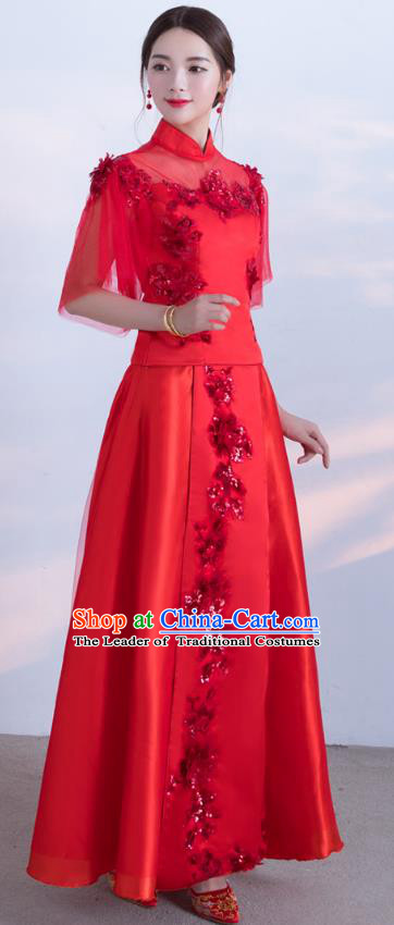 Traditional Ancient Chinese Wedding Costume Handmade XiuHe Suits Embroidery Bride Toast Veil Sleeve Cheongsam Dress, Chinese Style Hanfu Wedding Clothing for Women