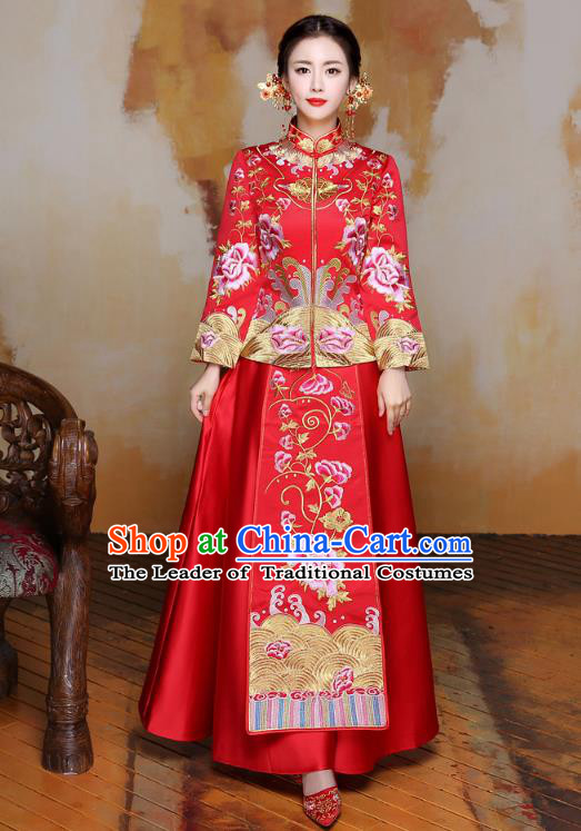 Traditional Ancient Chinese Wedding Costume Handmade XiuHe Suits Embroidery Peony Dress Bride Toast Cheongsam, Chinese Style Hanfu Wedding Clothing for Women
