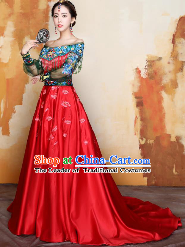 Traditional Ancient Chinese Wedding Costume Handmade XiuHe Suits Embroidery Peony Off Shoulder Dress Bride Toast Cheongsam, Chinese Style Hanfu Wedding Clothing for Women