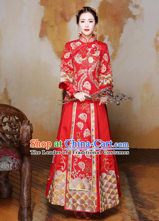 Traditional Chinese Wedding Costumes Traditional Xiuhe Suits Wedding Bride Dress Ancient Chinese bridal hair Accessory Headwear