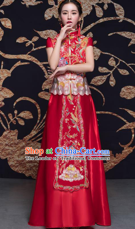 Traditional Ancient Chinese Wedding Costume Handmade Delicacy Embroidery Phoenix XiuHe Suits Short Sleeve Plated Buttons Dress, Chinese Style Hanfu Wedding Bride Toast Cheongsam for Women