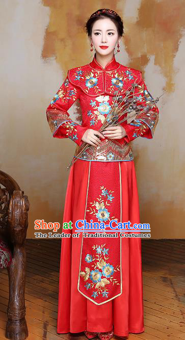 Traditional Ancient Chinese Wedding Costume Handmade Delicacy Embroidery Phoenix XiuHe Suits Slim Longfeng Dress, Chinese Style Hanfu Wedding Bride Toast Cheongsam for Women