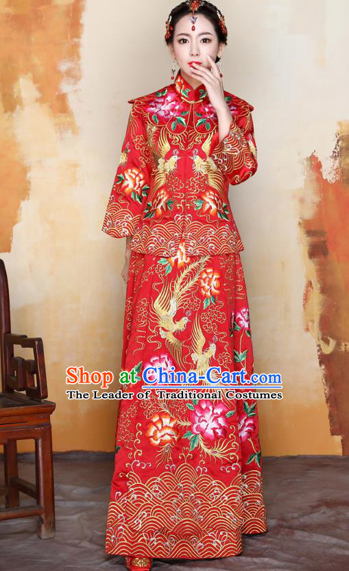 Traditional Ancient Chinese Wedding Costume Handmade Delicacy Embroidery Peony XiuHe Suits, Chinese Style Hanfu Wedding Bride Toast Cheongsam for Women