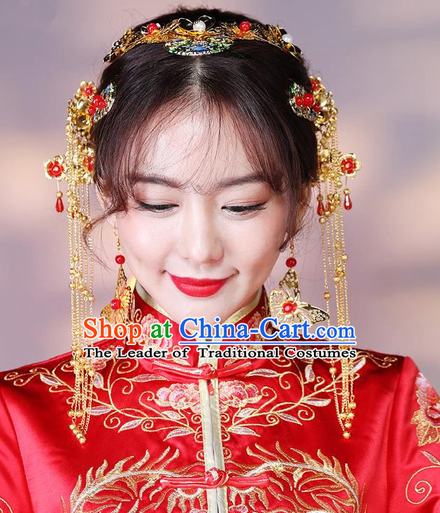 Traditional Handmade Chinese Ancient Classical Hair Accessories Complete Set Bride Wedding Tassel Barrettes Hair Comb, Xiuhe Suit Hair Jewellery Hair Fascinators Hairpins for Women